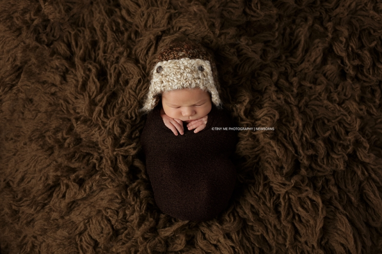 Andover MN Newborn Photography baby photographer Minnesota boy in aviator hat brown wrap