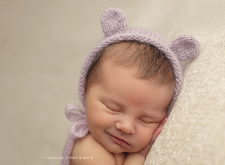 MN Newborn Baby Girl with purple bear hat Eagan Photographer with props