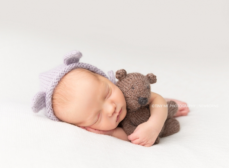 MN Newborn photographer baby girl with bear